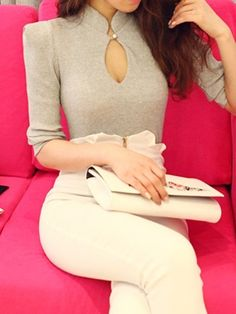 Gray Long Sleeve Chest Hollow Out With Shoulder Pads T-shirt   Choies