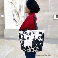 """A new color """"Black and White"""" cowhide large tote bag has been added. Eco-Friendly bag made with Vegan leather. Great bag for this Fall winter season. Cowhide Bag, Cowhide Leather, Extra Large Tote Bags, Eco Friendly Bags, Cow Print, Leather Craft, Bag Making, Vegan Leather, Shoulder Bag"""