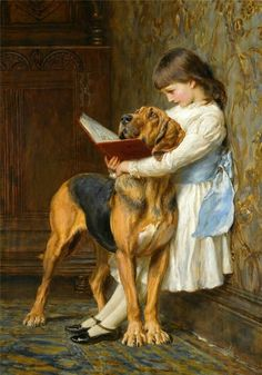 """The reading lesson""-Charles Burton Barber"
