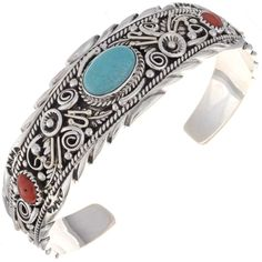 Handmade Navajo Cuff Turquoise Coral Silver Bracelet