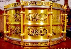 Ludwig 100th anniversary gold snare drum. I want that!