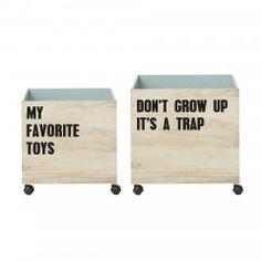Bloomingville set opbergdozen - houten opbergkist - kist op wielen - kinderkamer