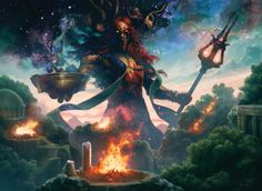 The Art of the Gods of Theros. High-res fantasy illustrations from Magic: the Gathering multiverse featuring the Gods of Theros Block. Dark Fantasy Art, Fantasy Artwork, Magic The Gathering, Fantasy Creatures, Mythical Creatures, Jaime Jones, Dungeons E Dragons, Mtg Art, Arte Obscura
