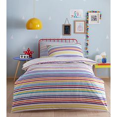 From bluezoo's fantastic range of bedding, brighten up a little bedroom with these super-soft bedding set. Perfect for bedtimes, they feature a striped print in a colourful array of hues.