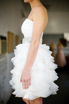 Short wedding reception dress.