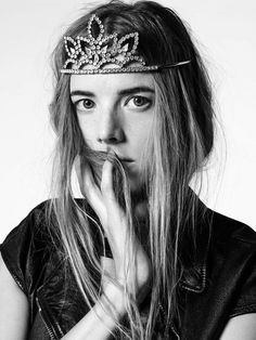 Agyness Deyn wears a tiara and leather vest for Saint Laurent Spring/Summer 2016