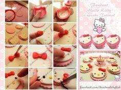 Fondant Hello Kitty cupcake tutorial
