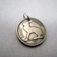 Irish jewelry - Ireland Three Pence COIN CHARM or pendant - Irish hare and harp