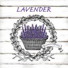 Vintage Lavender Basket Wreath Large Instant by CreatifBelle