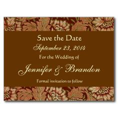 Bark Brown Gold Damask Save The Date Postcard