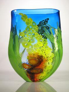 "Blue ""Seascape"" Vessel Mad River Glass American Crafts by Robbie Dein myamericancrafts.com"