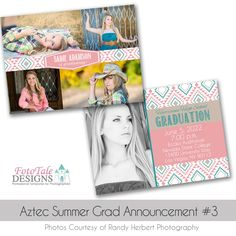 Aztec Summer Graduation Announcement custom photoshop templates for photographers Graduation Announcement Cards, Graduation Cards, Graduation Announcements, Graduation Templates, Photoshop, Senior Girls, Custom Cards, Card Templates, Photo Cards
