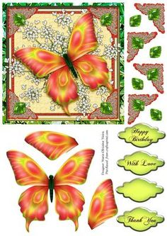 Butterfly on Queens Lace 6x6 on Craftsuprint designed by Maria Christina Vieira - This is a quick card approx. 5.75x5.75, and comes with layered Butterfly and 3 labels.Happy Birthday,Thank You,With Love,and one blank. - Now available for download!