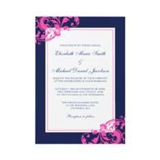 Navy & Pink Wedding Invitations
