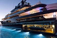 Huge Mega Yacht with integrated boat garage! Yacht Design, Boat Design, Travel Design, Yacht Luxury, Luxury Travel, Luxury Boats, Luxury Yacht Interior, Cool Boats, Used Boats