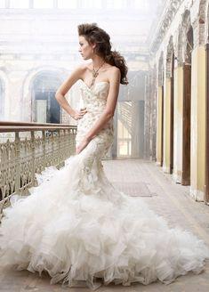 #White #Trumpet #Mermaid #Sweetheart #Brush #Train #Wedding #Dress