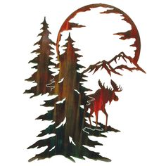 "Moon River Moose Wall Hanging - A Black Forest Decor Exclusive - A shimmering color wash finish highlights the stunning laser-cut cold-rolled steel moose scene Moon River Moose Wall Hanging. Measures x ½""D x ~ Metal Tree Wall Art, Hanging Wall Art, Metal Art, Wood Art, Wall Hangings, Moose Decor, Black Forest Decor, Laser Art, Wood Burning Patterns"