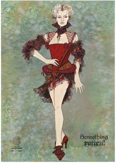 """Costume concept art for Broadway's """"Something Rotten!"""" (2015), a fractured retelling of the Shakespearean theatrical scene."""