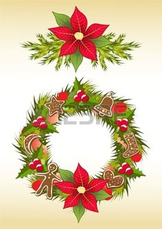 Christmas garland with gingerbread. Vector illustration.
