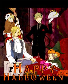 Happy Halloween - Hetalia FACE - America / France / England / Canada