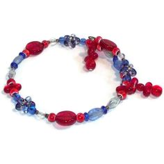 Red White and Blue Memory Wire Bracelet
