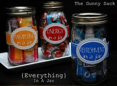 Everything in a Jar Gifts, including: energy in a jar, pampering in a jar, and refreshment in a jar