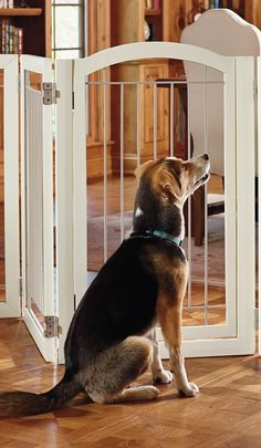 Versatile and distinctive, our Antique White Hardwood Pet Gate and Crate is also a playpen.