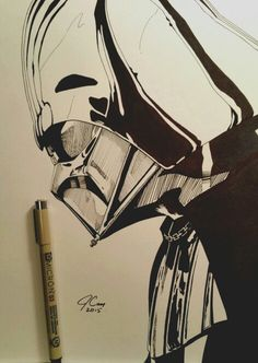 Darth Vader art from Star Wars. 9 x 12 with micron pens. Find this and other drawings on instagram @jcam099