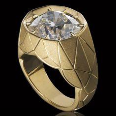 Alexandre Reza - Anello in oro giallo con diamante taglio cusci