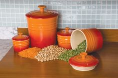 Le Creuset canisters and spice jars