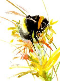 Bumblebee, Original watercolor painting by ORIGINALONLY on Etsy Arches Watercolor Paper, Watercolor Paintings, Pink Cockatoo, Original Artwork, Original Paintings, Whale Painting, Whale Art, Eco Friendly Paper, Beautiful Paintings