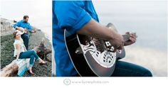 Playing the Guitar on the Beach.  Beach Engagement Session. Bellingham Wedding Photographer. Seattle Wedding Photographer. Nautical Engagement. B. jones Photography. www.bjonesphotos.com