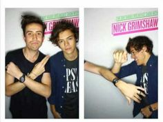 "Nick Grimmshaw and Harry Styles arguing! BEST PART at 4: 09! Harrys says ""its not me"" in the most attractive deep voice EVER!!!"