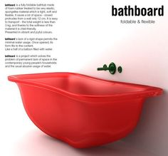 Innovative Bathboard For Small Spaces - flexible tub! So cool. Too bad it's probably not made with sustainable materials.