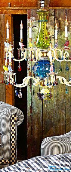 Fall Into Wonderland: MacKenzie- Childs Pin — Très Haute Diva Look Boho Chic, Bohemian Chic Decor, Bohemian Lighting, Funky Furniture, Painted Furniture, Tableaux Vivants, Mackenzie Childs Inspired, Hipster Decor, Mckenzie And Childs