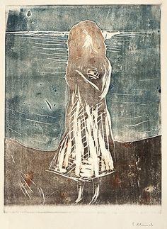 blastedheath:  Edvard Munch (Norwegian, 1863-1944), Young Woman on the Beach, 1912.Colour woodcut.