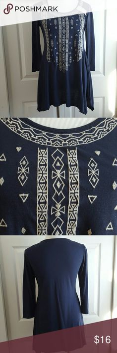 """Beautiful Embroidered Tunic Length: 28"""" measured shoulder to hem lying flat. Chest: 17"""" Waist: 16"""" Material: Polyester & Rayon; Trim 100% cotton Care: Machine Wash cold Condition: Like New Tops Tunics"""