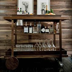 reclaimed wood wall, wood bar cart 