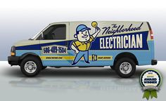 Award winning Retro themed branding and truck wrap design for electrician in Michigan.