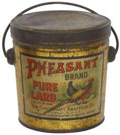 Advertising tin, Pheasant Brand Pure Lard, The Cincinnati Abattoir Co.-Cinc, O. colorful litho on tin w/lid & bail handle by Canco, a Rare hard-to-find tin.
