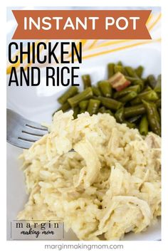 How to Easily Make Creamy Instant Pot Chicken and Rice - Margin Making Mom Instant Pot chicken and rice is your favorite creamy, cheesy casserole comfort food, except it's made faster and easier in the Instant Pot pressure cooker! Instant Pot Chicken And Rice Recipe, Creamy Chicken And Rice, Instant Pot Dinner Recipes, Recipes Dinner, Pressure Cooker Chicken, Instant Pot Pressure Cooker, Pressure Cooker Recipes, Easy Rice Recipes, Easy Chicken Recipes