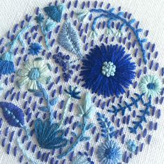 Blue Flowers and Dashes on White Linen Hand Embroidered Art