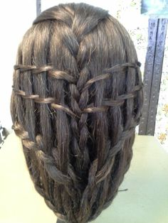 Created by Dawn,  2 twisted waterfall braids and 2 lace braids, regular braid in the middle.