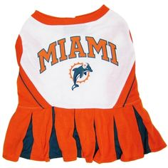 Miami Dolphins cheerleader dog dress is 100% polyester with screen printed NFL team logo and velcro closure. Get your dog ready cheer for the team!