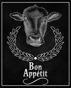 Cow Bon Appetit Chalkboard Printable Digital Download Poster Graphic Instant Image