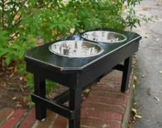 Elevated Dog Bowl Feeder  - Distressed Black, Brown Highlights Sleek and Modern 2 Two Quart Stainless Bowls For Large Dogs Made to Order