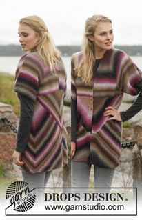 """Free Pattern Knitted DROPS jacket with domino squares in """"Delight"""". Size: S - XXXL. ~ DROPS Design"""