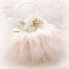 Flower Girl Basket, Blush, Gold, Ivory, Pink, Tutu Basket, Wedding, Bridal, Feathers, Tulle, Lace, Pearls, Elegant, Vintage Wedding, Gatsby