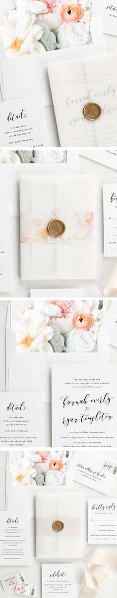 Meet Everly! A sweet, modern invitation design accented with a vellum jacket, floral envelope liner, wax seal, and belly band. Customize each option to make them your own.
