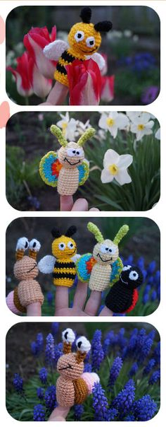 Baby shower Toddler gift for kids birthday Baby Toddler toys Waldorf Educational summer finger puppets snail crochet butterfly bee ladybug  There are handmade finger puppet Bugs animals for kids. There are adorable set of toys. They are crocheted from acrylic yarn and filled with fyberfill.  The set of finger puppets includes: - snail - bee - butterfly - ladybug